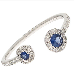 Sapphire and Diamond Open Ring