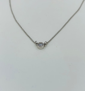 14k white gold solitaire necklace