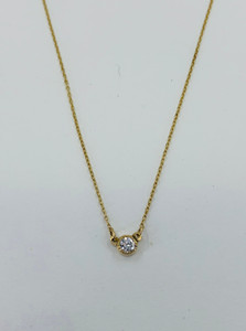 14k yellow gold solitaire necklace