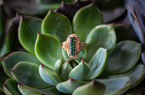 Custom Rose Gold and Green Tourmaline Ring