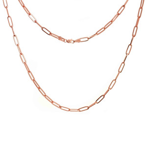 ROSE GOLD PLATED STERLING SILVER 3.85MM PAPER CLIP CHAIN