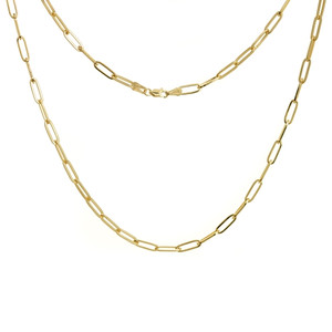 YELLOW GOLD PLATED STERLING SILVER 3.85MM PAPER CLIP CHAIN