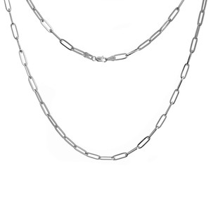 WHITE GOLD PLATED STERLING SILVER 3.85MM PAPER CLIP CHAIN