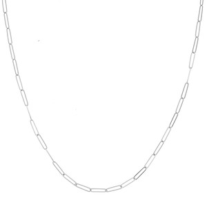 14K WHITE GOLD 2.6MM PAPER CLIP CHAIN