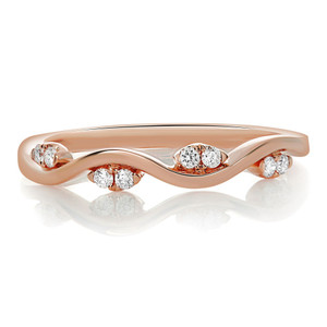 Rose Gold & Diamond Wave Band