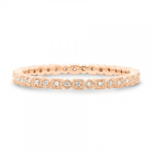 Rose Gold Geometric Milgrain Band