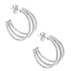 STERLING SILVER THREE ROW HOOP EARRINGS