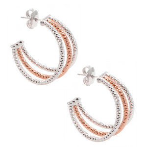 STERLING SILVER ROSE GOLD PLATED THREE ROW HOOP EARRINGS