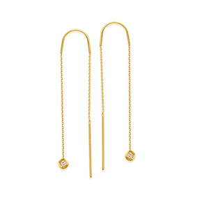 14k yellow gold diamond threaded earrings