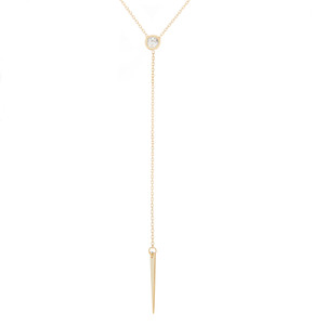 14k Yellow Gold Spear Lariat Necklace