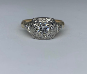 Vintage 14k Two Tone Diamond Ring