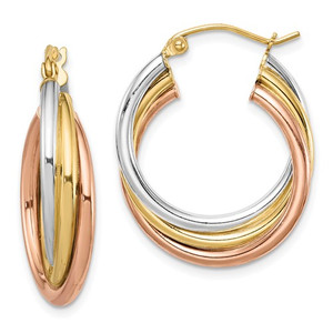 Sterling Silver Tri Color Hoops