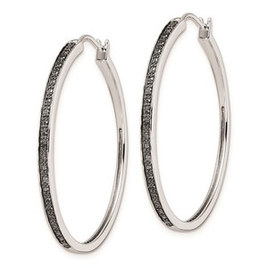 Sterling Silver Black Diamond Hoop