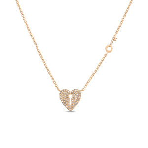 Heart Lock & Key Diamond Pave Necklace