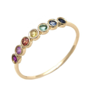 14K MULTI GEM RAINBOW RING