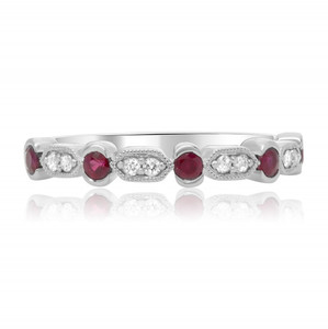 Geometric Diamond & Ruby Band