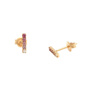 14kt Pink Sapphire Ombré Bar Earrings