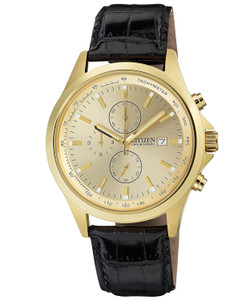 Gold-Tone Stainless Steel Watch with Black Leather Band