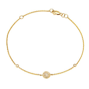 14k Yellow Gold Diamond Circle Bracelet