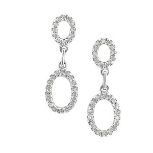 14k White Gold Dangle Drop Earrings