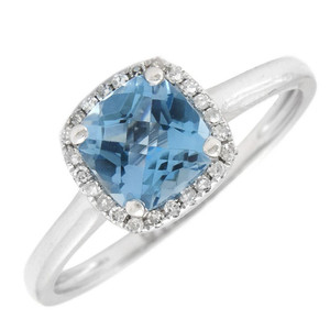 14k White Gold Diamond and Blue Topax Ring