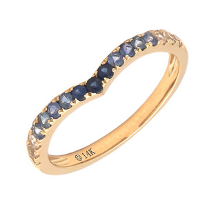 14k Yellow Gold Sapphire V Ring