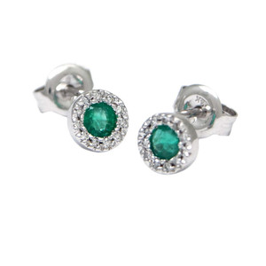 14k White Gold Emerald and Diamond Halo Studs