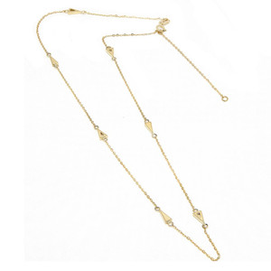 14k Yellow Gold Triangle Station Necklace
