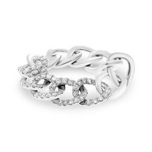 14k Diamond Chain Link Ring
