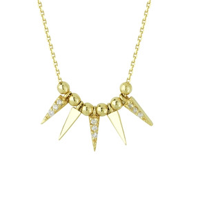 Diamond Bead Spike Necklace
