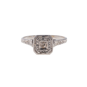 Vintage 14K White Gold Solitare Engagement Ring