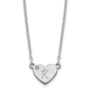 Initial Heart with Diamond Necklace