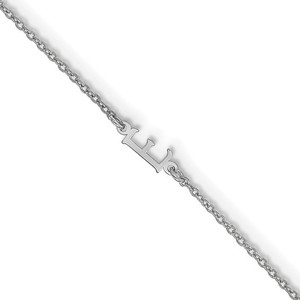 "Sterling Silver Cutout Initial 7.5"" Bracelet"