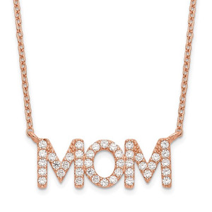 Sterling Silver Polished Rose-tone CZ MOM 18in Necklace