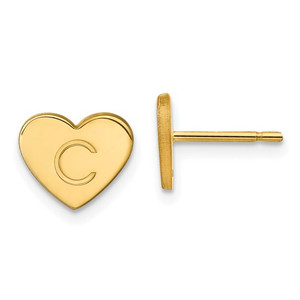 Initial Heart Post Earrings