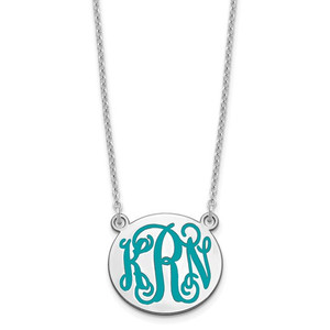 Small Polished Enameled Letter Circle Monogram Necklace