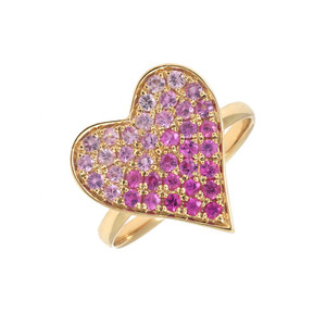 Pink Sapphire Heart Ring