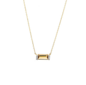 Gold Citrine Bar Necklace