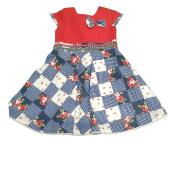 Girls Cotton Dress  -RED MIX