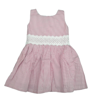 Girls Cotton Dress  -pink line