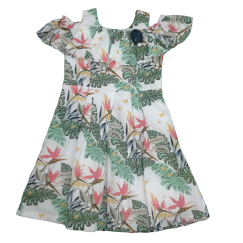 Girls Dress - Green leaves