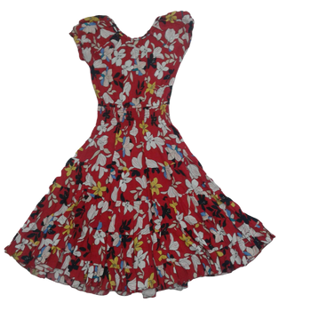 Girls Cotton Dress -RED FLOWER
