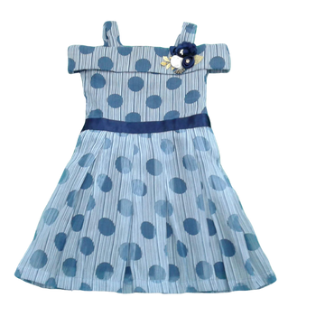 Girls Dress - Blue Dots