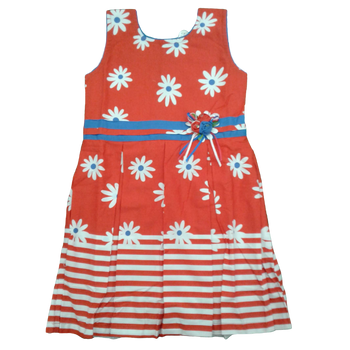 Girls Dress - Red Flower