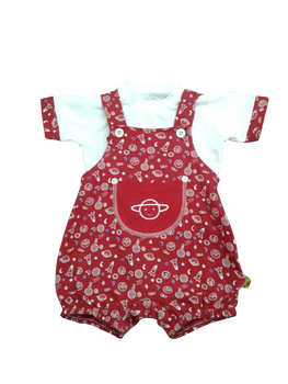 Infant/Baby Boy Set - Red overall