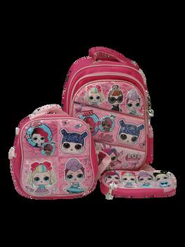 School Bag   ( 16 inch )- Lol  pack of 3
