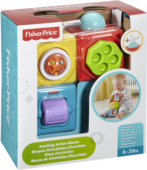 Fisher-Price Stacking Action Blocks, Baby Activity Stacking Toy Blocks