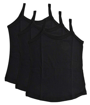 Girls Vest Black  -  Pack of 3