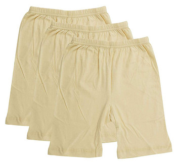 Girls Cycling Shorts- Beige (Pack Of 3)