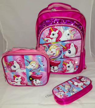 School Bag - Unicorn  pack of 3 ( 16 inch )